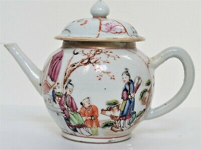 18th Century, Antique Chinese Export Famille Rose Mandarin Porcelain Teapot