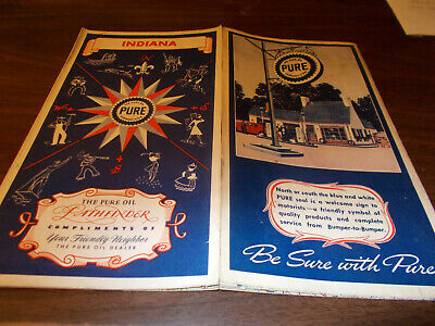 1941 Pure Oil Indiana Vintage Road Map / Nice Gas Station Art