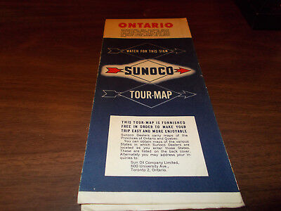 1954 Sunoco Ontario Vintage Road Map