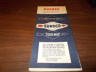 1954 Sunoco Quebec Vintage Road Map