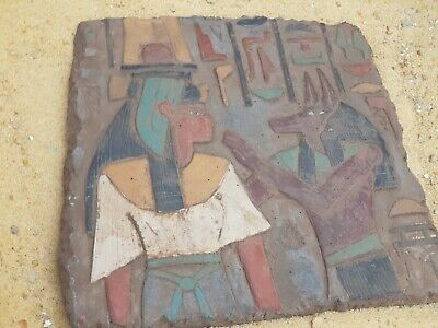 Rare Antique Ancient Egyptian Stela Queen Nefertari & God Anubis Jackal 1213 BC