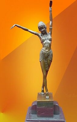 Art Deco, Chiparus Egyptian Dancer Bronze Signed Statue Figure Hot Cast Figurine