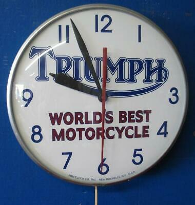 Vintage Pam Lighted Advertising Clock TRIUMPH WORLD'S BEST MOTORCYCLE
