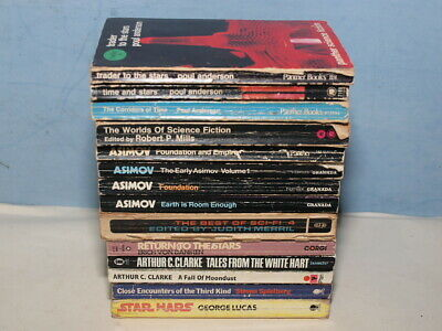 14 X VINTAGE SCI-FI PAPERBACK BUNDLE ANDERSON ASIMOV C CLARKE.  FROM 1960's ON