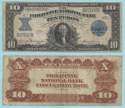 1921 Philippines National Bank 10 Pesos ~ F+ ~ Pick#54 ~ Printed by the USBEP