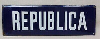 1930s Vintage Second Spanish Republic Porcelain Enamel Street Sign Marker Plate