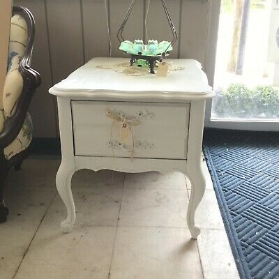 Painted White Nightstand French Provincial Shabby Dixie Vintage Large Drawer.