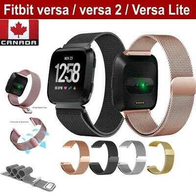 For Fitbit Versa 2 Lite Band Stainless Magnetic Smart Watch Wrist Strap (S-L)