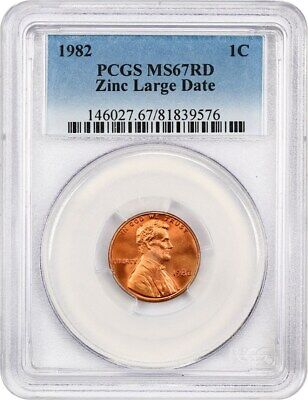 1982 1c PCGS MS67 RD (Zinc, Large Date) Lincoln Memorial Small Cents (1959-2008)