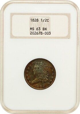 1828 1/2c NGC MS63 BN (13 Stars, OH) Old NGC Holder - Old NGC Holder