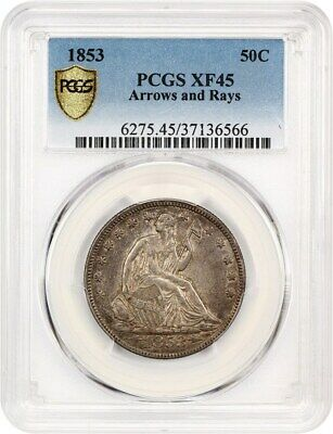 1853 50c PCGS XF45 (Arrows & Rays) Desirable Type Coin - Desirable Type Coin