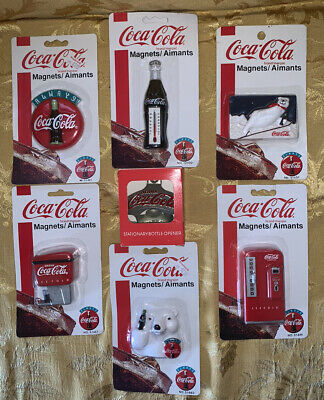Coco Cola Magnets Lot 6 Magnets And A Stationary Bottle Opener 1991 1995 1997
