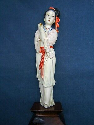 Okimono 置き物, 置物 Figure of Chinese/Asian Female painted on stand