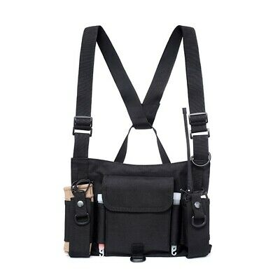 Duty Radio Harness Chest Front Pack Pouch Holster f Two Way Radio Walkie Talkie
