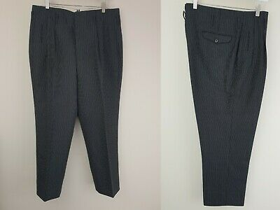 Vtg 1950s Button Fly Pleated Striped Hollywood Waist Wool Trousers W34 L25 LS24