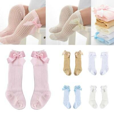 New Baby Girl Bow Knee Socks Hearts Spanish Ribbed White Pink Soft Touch 0-3Year