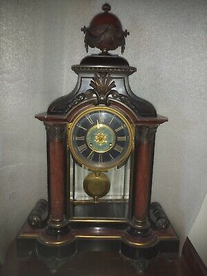 Heavy Victorian Rouge And Bkack Marbel French Movement Mantel/Table Clock