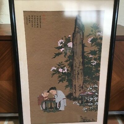 antique Chinese painting children in garden Qing 19thC calligraphy & seal marks