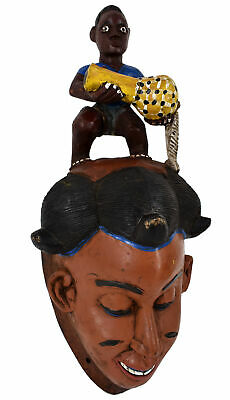 Baule Mask with Small Figure Ivory Coast African Art