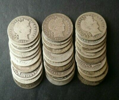Lot of 30 10c Barber Silver Dimes
