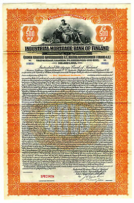 Finland Industrial Mortgage Bank of Finland 1924, $500 Specimen Gold Coupon Bond