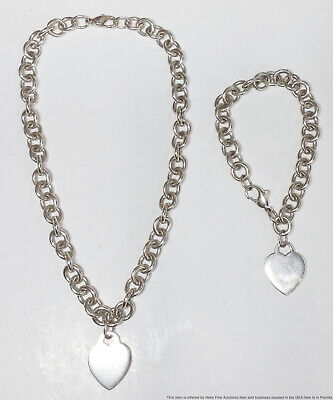 Heavy Sterling Silver Genuine Tiffany Heart Dog Tag Necklace and Bracelet