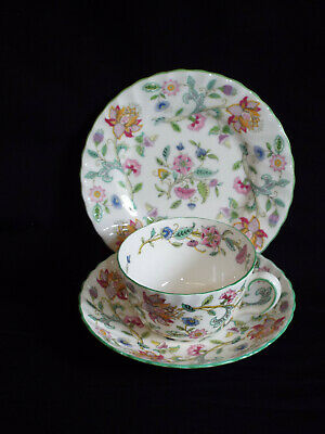 Good Minton Haddon Hall trio of cup,saucer and side plate.