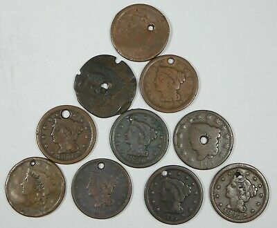 LOT x 10 Different Date Holed LARGE Cents 1831-1856