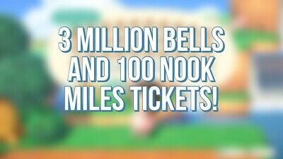 3M Bells + 100 Nook Miles Tickets Animal Crossing New Horizons, Fast delivery
