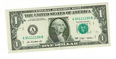 US Federal Reserve Note $1 NOTE SERIAL # A 34111100 B Quad 4 of A Kind