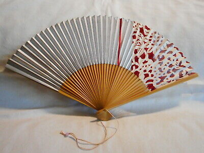 Vintage Hand Painted Red Floral SIlver JAPAN Paper Bamboo Wood Folding Sensu Fan