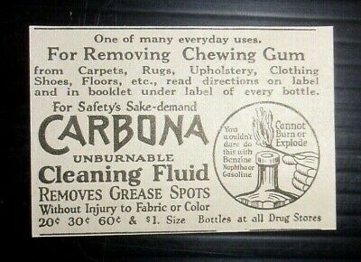 1926 Carbona Cleaning Fluid Advertisement