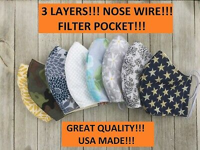 USA MADE!!! face mask with nose wire !!!  3 LAYERS!!! with filter pocket !!!!