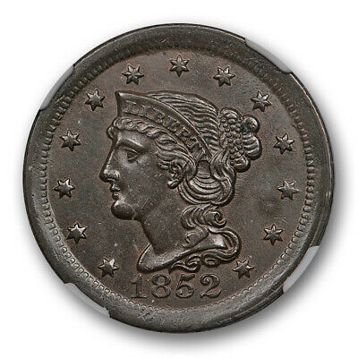 1852 1c Braided Hair Large Cent NGC AU 58 About Uncirculated Dark Brown