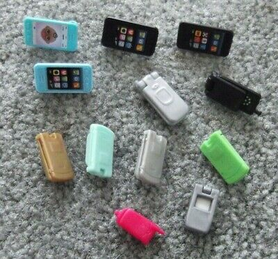 Barbie Ken Doll House Decorations - 12 Assorted Cell Telephones & Flip Phones