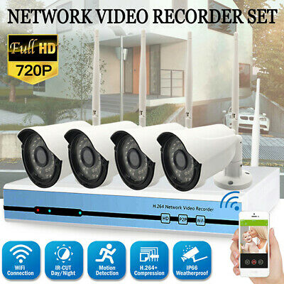 4CH 720P WIFI NVR CCTV Home In/Outdoor Security Night Vision Camera System Kit