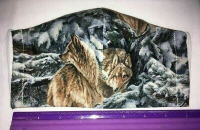 Washable Reversible Flannel Lined or Unlined Cotton Fabric WOLF PRINT Face Mask