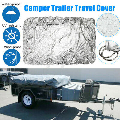 7.54x5.74ft Trailer Cover Waterproof Camping Travel Flat Car Shackle Vehicle UK