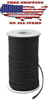 200 Yards Elastic Band 1/4 inches Width(6mm) Black For DIY Mask Roll