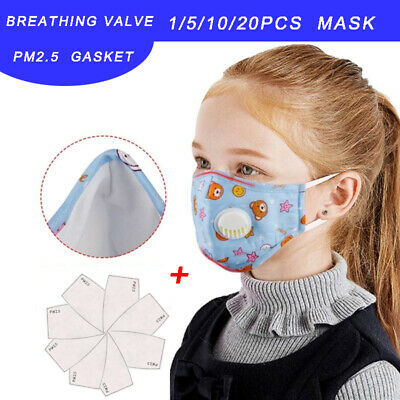 Kids Cotton Reusable Face Filter Breath Valve Cover Protection with 10PCS Gasket