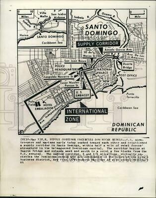 1965 Press Photo Map of US military supply corridor in the Dominican Republic