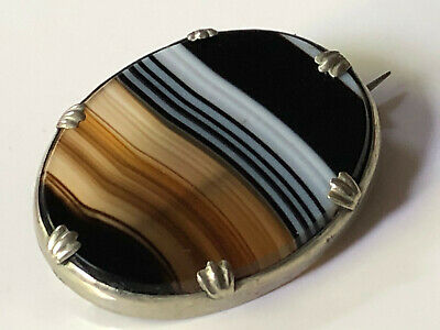 Large antique Victorian solid silver and smooth banded agate oval brooch 10.84g