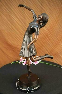 Egyptian Lady Dancer Chiparus Bronze Marble Sculpture Figurine Hot Cast Gift
