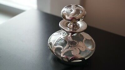 Antique Vintage Pure Sterling Silver 1000 Overlay Scent Perfume Glass Bottle