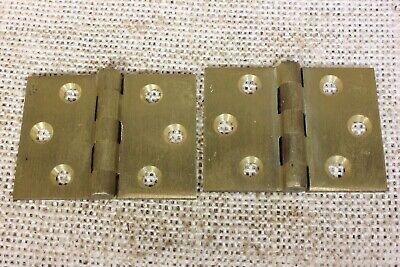 2 old Hinges SATIN cast brass BUTT door interior shutter vintage 2 x 1 1/2""