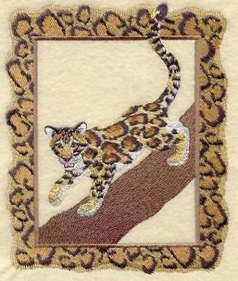 Embroidered Ladies Short-Sleeved T-Shirt - Clouded Leopard A4502