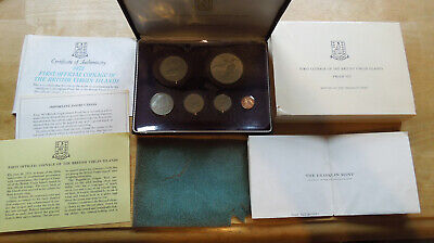 British Virgin Islands 1973 1c-$1 Silver Coins Proof Set w/Box & Papers