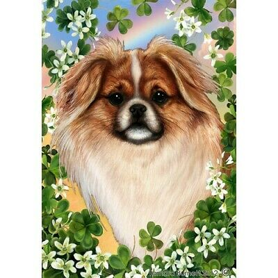 Clover House Flag - Red and White Sable Tibetan Spaniel 31476