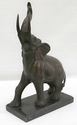 Handmade Collectible Elephant with Trunk Up Bronze Masterpiece Sculpture Figure