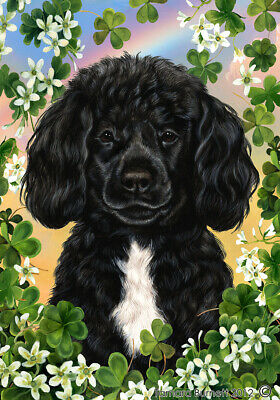 Clover House Flag - Black and White Portuguese Water Dog 31489